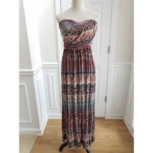 American Rag Printed Strapless Maxi Dress